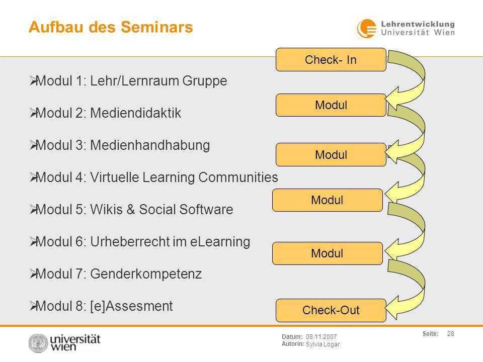 Aufbau des Seminars Modul 1: Lehr/Lernraum Gruppe
