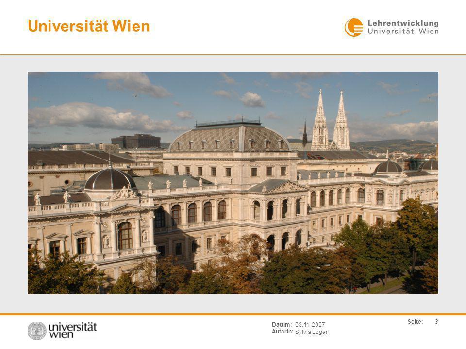 Universität Wien Datum: Autorin: 08.11.2007