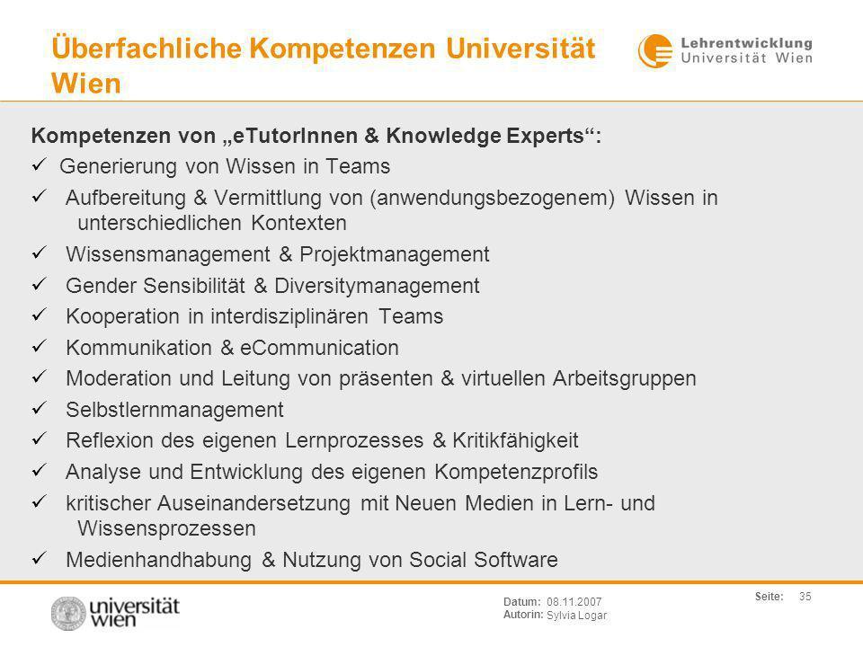 Überfachliche Kompetenzen Universität Wien