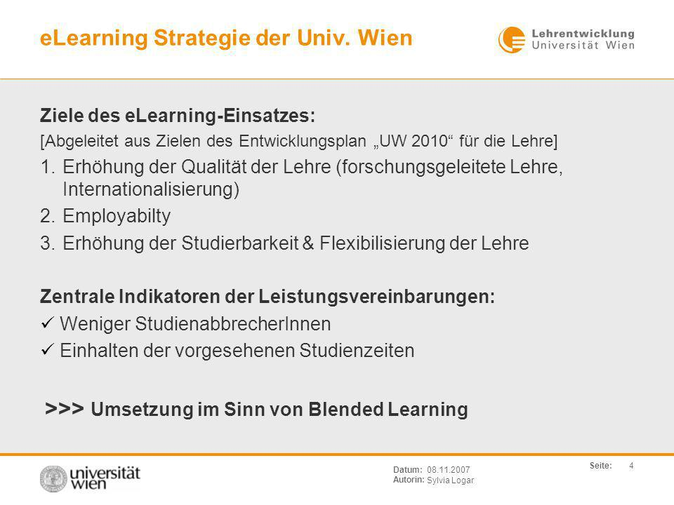 eLearning Strategie der Univ. Wien