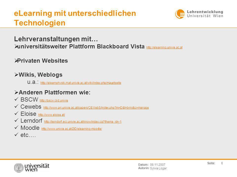 eLearning mit unterschiedlichen Technologien