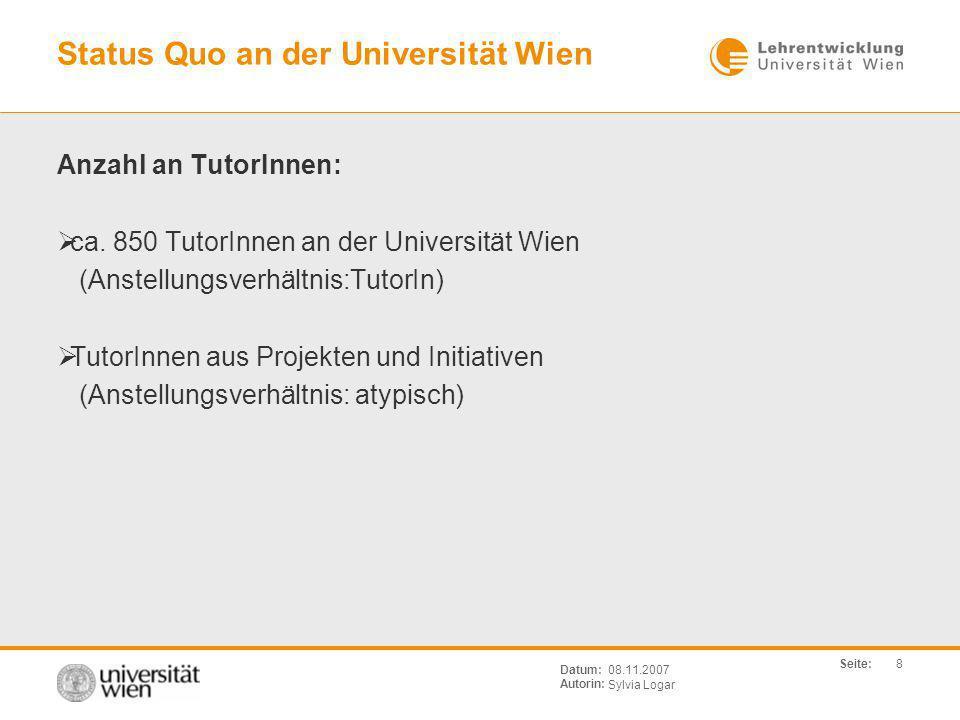 Status Quo an der Universität Wien
