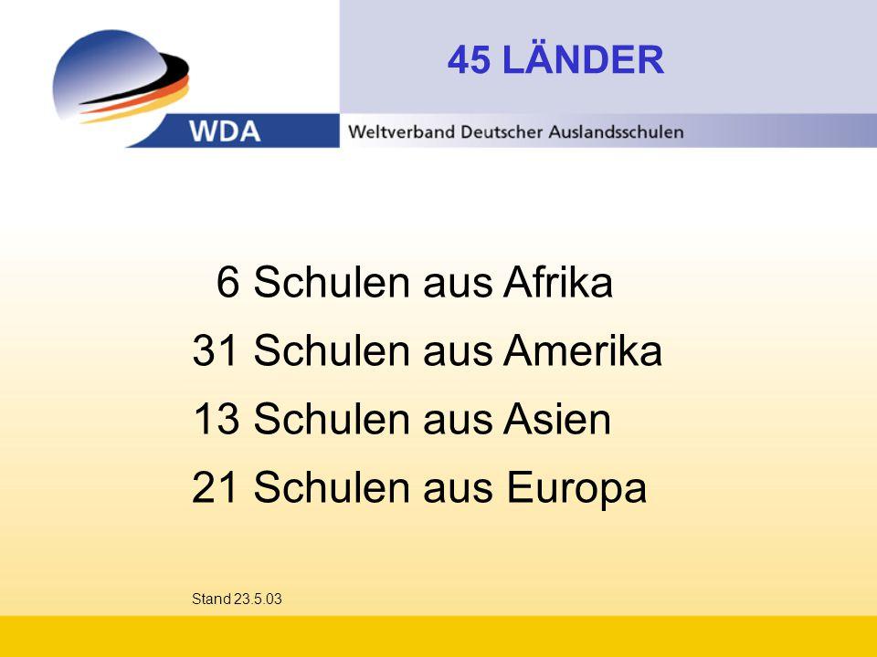 6 Schulen aus Afrika 31 Schulen aus Amerika 13 Schulen aus Asien