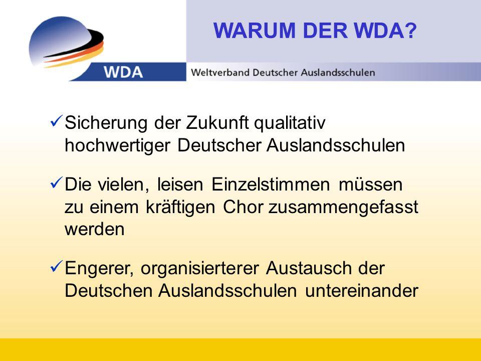 WARUM DER WDA Sicherung der Zukunft qualitativ hochwertiger Deutscher Auslandsschulen.