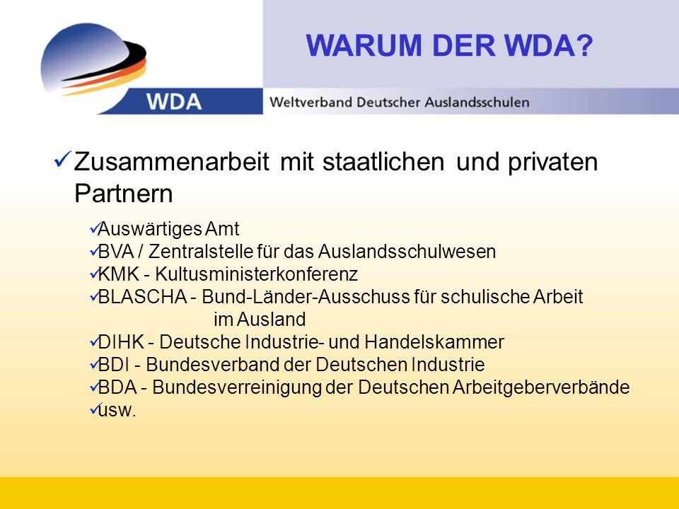 WARUM DER WDA Zusammenarbeit mit staatlichen und privaten Partnern
