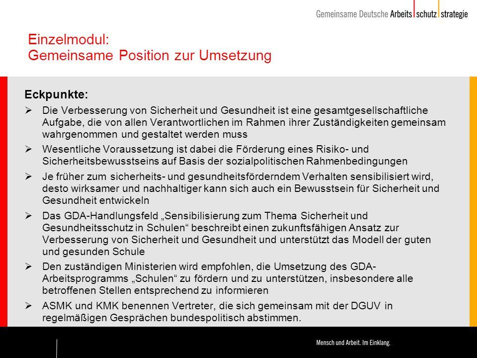 Einzelmodul: Gemeinsame Position zur Umsetzung