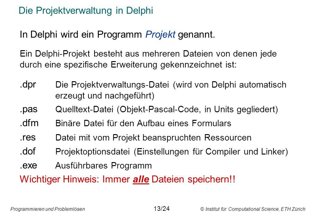 Die Projektverwaltung in Delphi