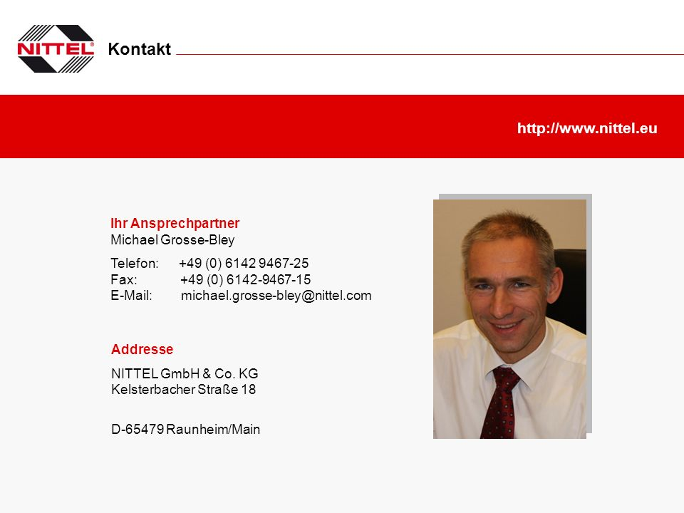 Kontakt http://www.nittel.eu Ihr Ansprechpartner Michael Grosse-Bley