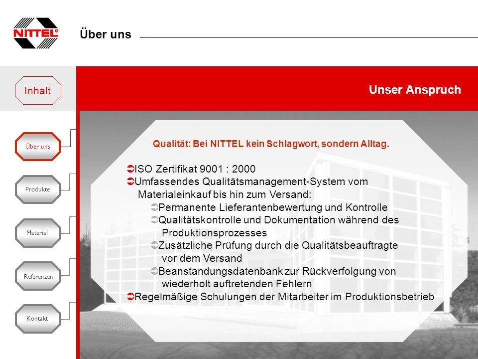 Über uns Unser Anspruch Inhalt ISO Zertifikat 9001 : 2000