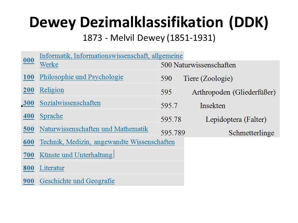 Dewey Dezimalklassifikation (DDK) 1873 - Melvil Dewey (1851-1931)