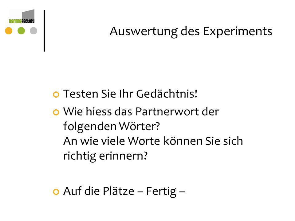 Auswertung des Experiments