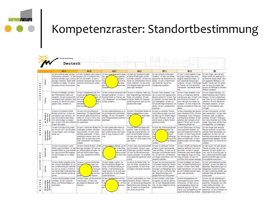 Kompetenzraster: Standortbestimmung