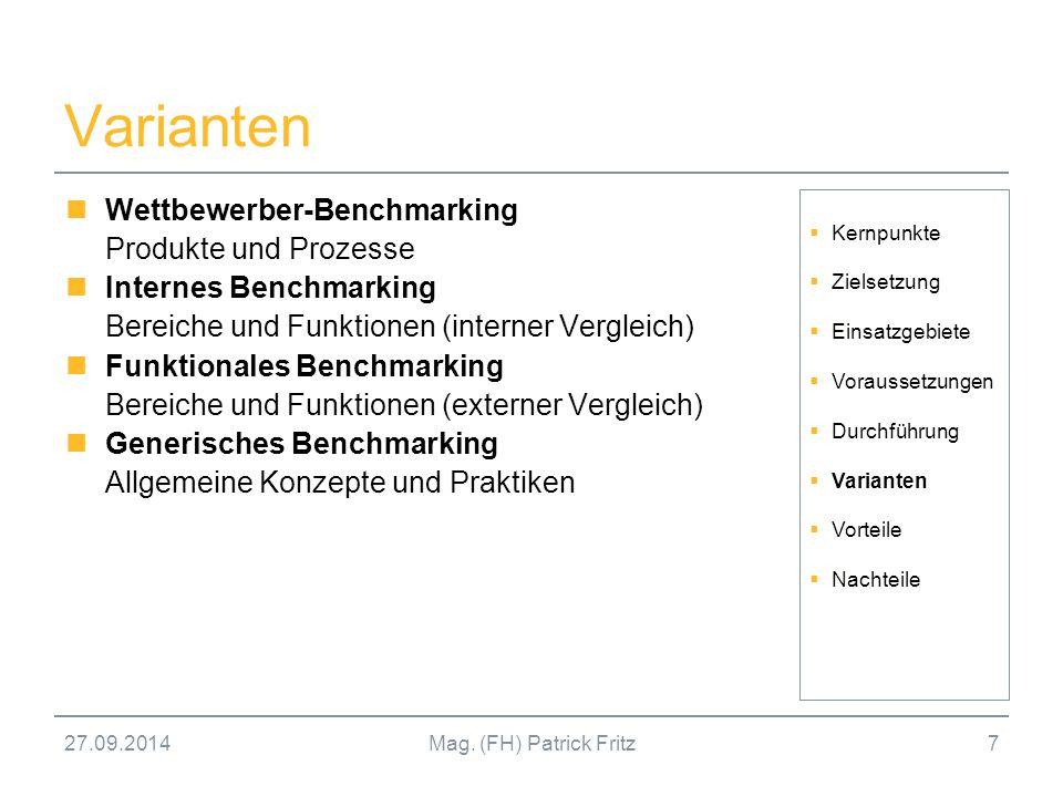 Varianten Wettbewerber-Benchmarking Produkte und Prozesse