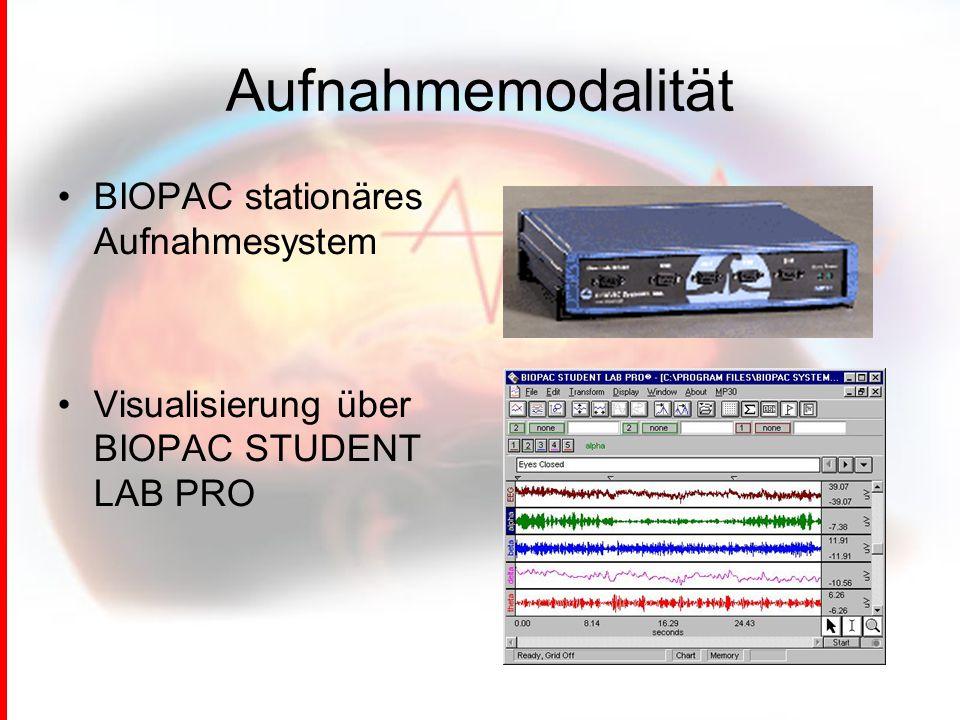 Aufnahmemodalität BIOPAC stationäres Aufnahmesystem
