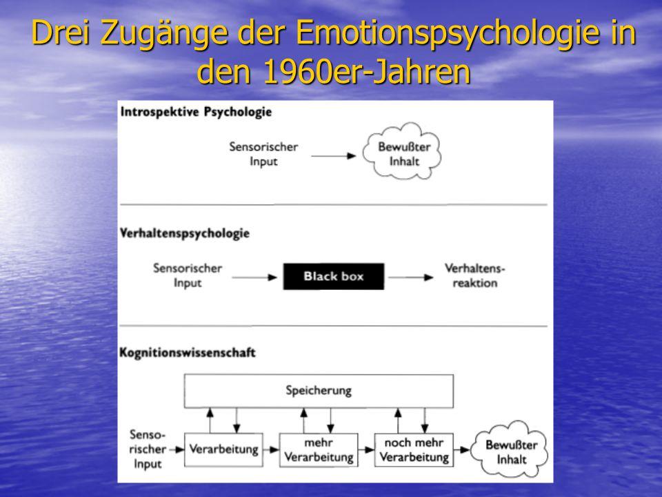 Drei Zugänge der Emotionspsychologie in den 1960er-Jahren