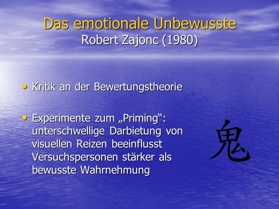Das emotionale Unbewusste Robert Zajonc (1980)