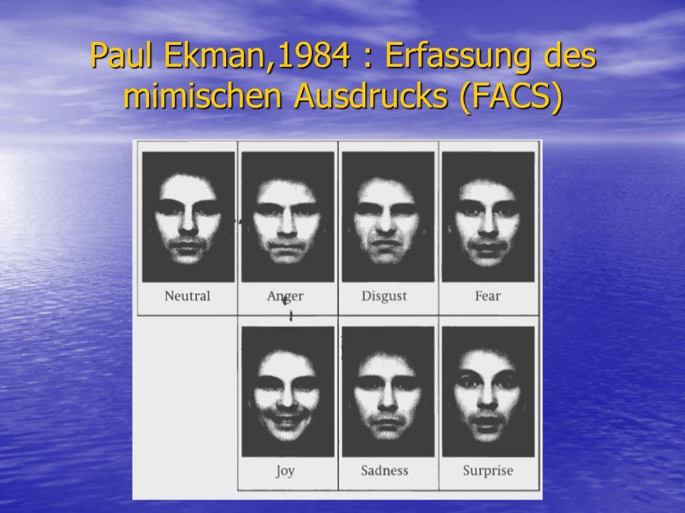 Paul Ekman,1984 : Erfassung des mimischen Ausdrucks (FACS)