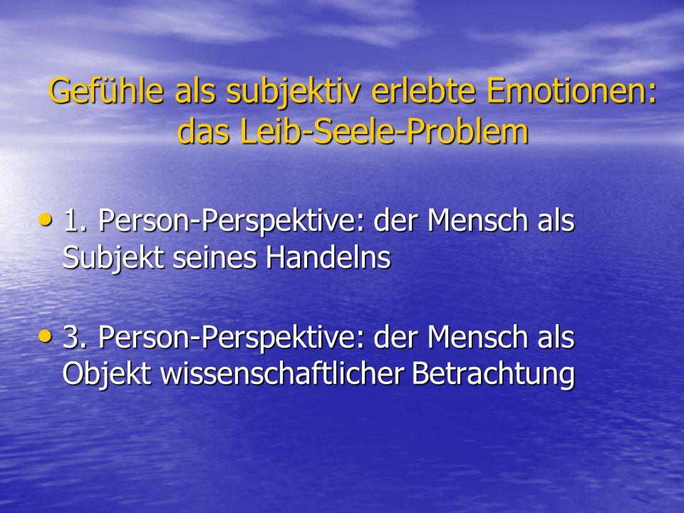 Gefühle als subjektiv erlebte Emotionen: das Leib-Seele-Problem