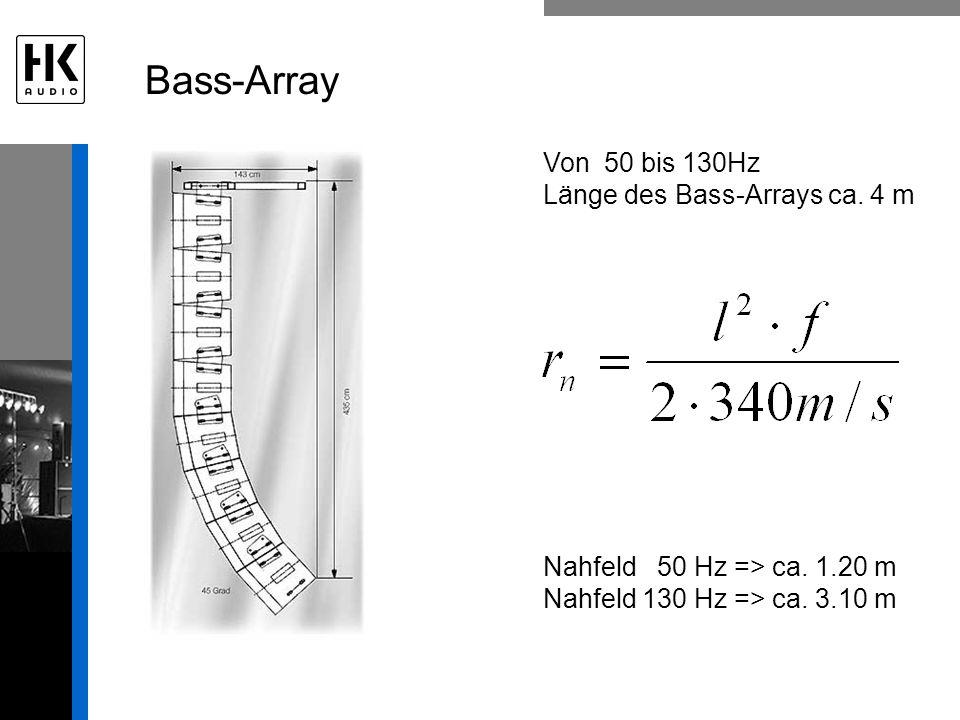 Bass-Array Von 50 bis 130Hz Länge des Bass-Arrays ca. 4 m