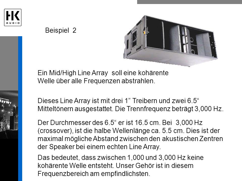 Beispiel 2 Ein Mid/High Line Array soll eine kohärente Welle über alle Frequenzen abstrahlen.