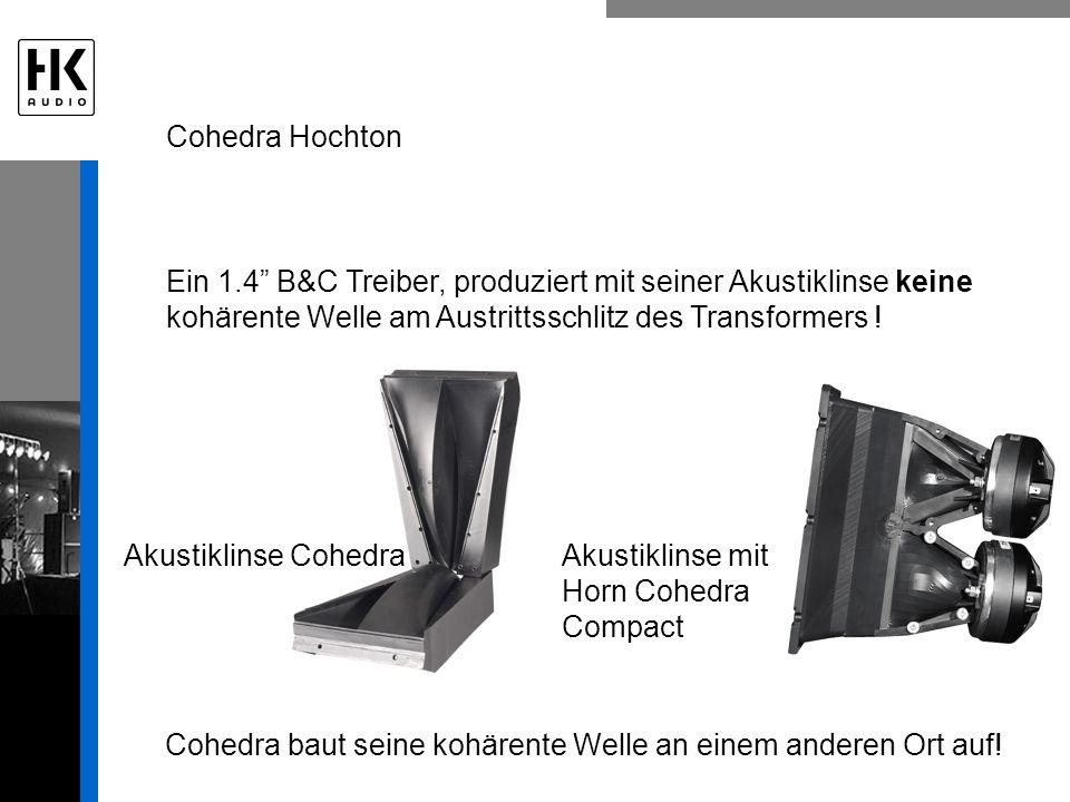 Cohedra Hochton Ein 1.4 B&C Treiber, produziert mit seiner Akustiklinse keine kohärente Welle am Austrittsschlitz des Transformers !