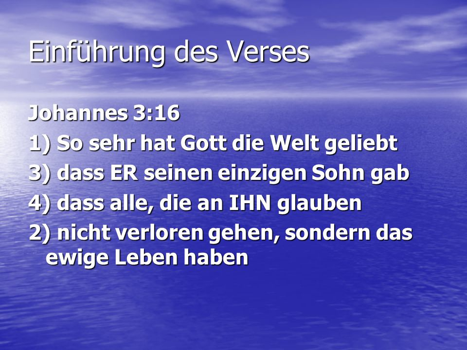 Einführung des Verses Johannes 3:16