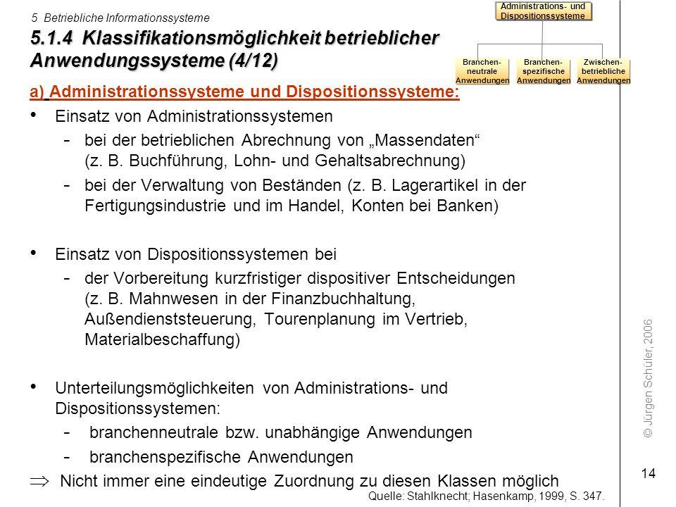 Administrations- und Dispositionssysteme. 5.1.4 Klassifikationsmöglichkeit betrieblicher Anwendungssysteme (4/12)