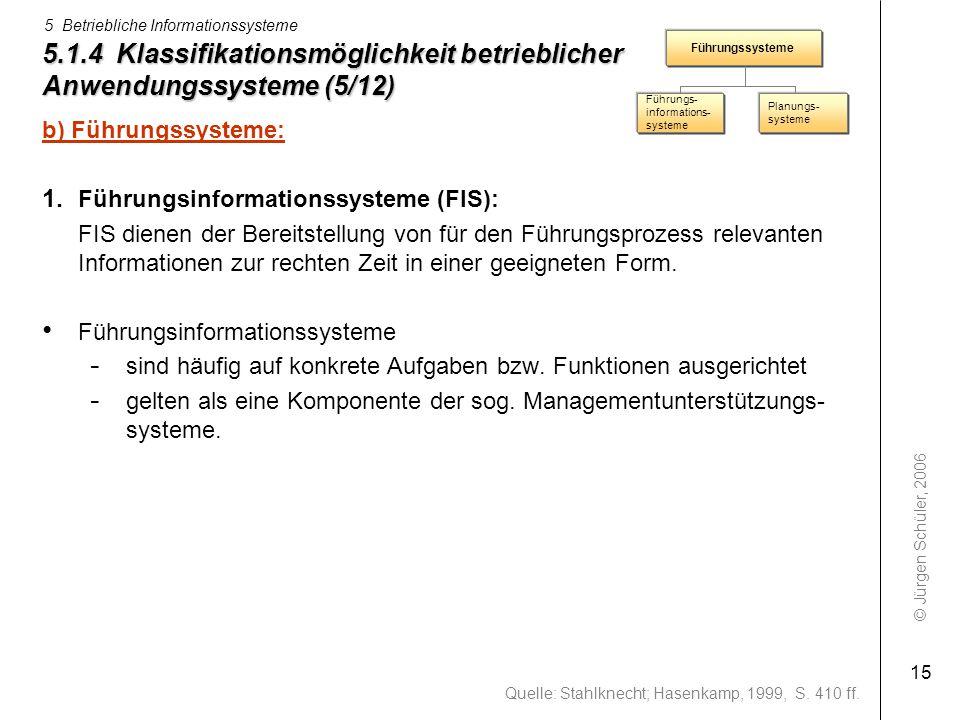 5.1.4 Klassifikationsmöglichkeit betrieblicher Anwendungssysteme (5/12)