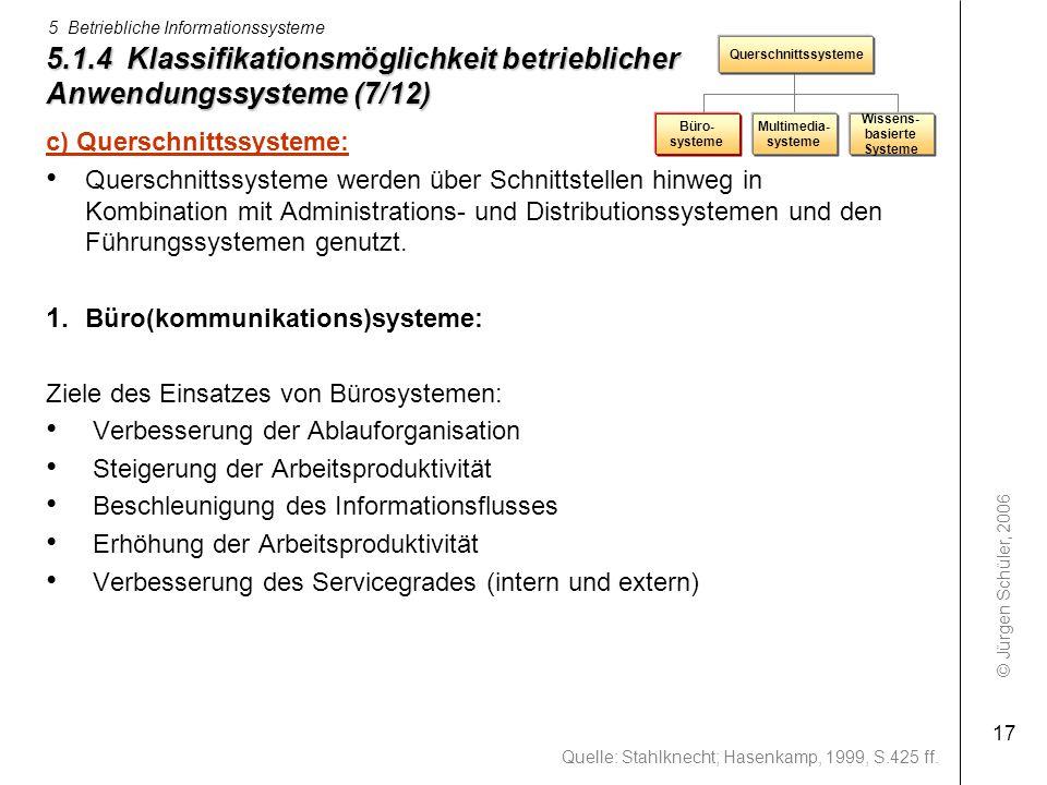 5.1.4 Klassifikationsmöglichkeit betrieblicher Anwendungssysteme (7/12)