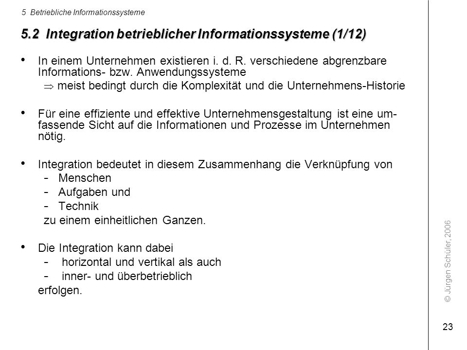 5.2 Integration betrieblicher Informationssysteme (1/12)
