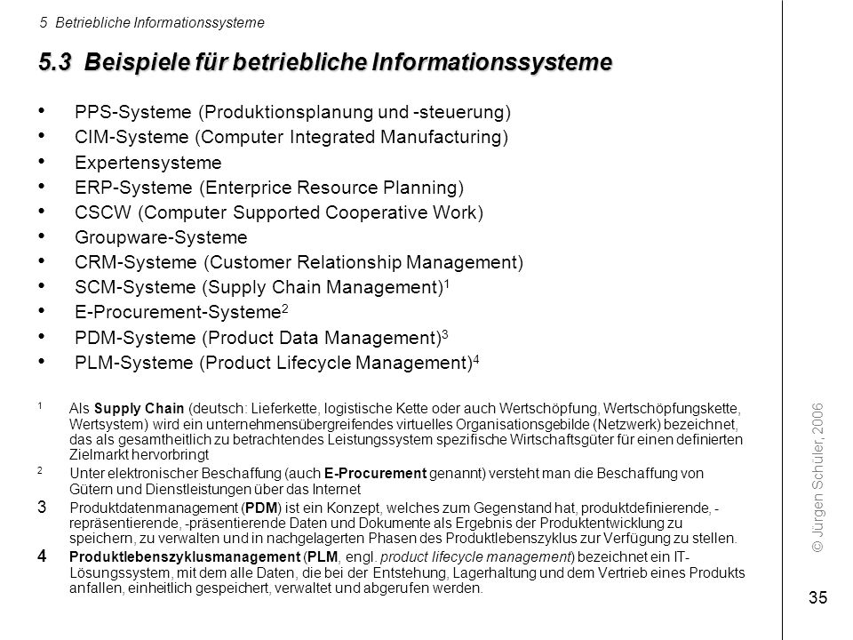5.3 Beispiele für betriebliche Informationssysteme