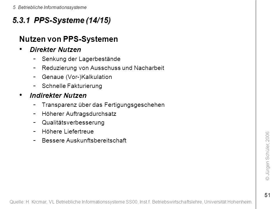 Nutzen von PPS-Systemen