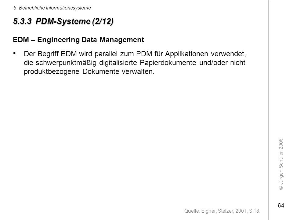 5.3.3 PDM-Systeme (2/12) EDM – Engineering Data Management