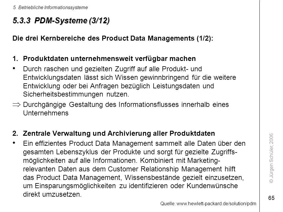 5.3.3 PDM-Systeme (3/12) Die drei Kernbereiche des Product Data Managements (1/2): Produktdaten unternehmensweit verfügbar machen.