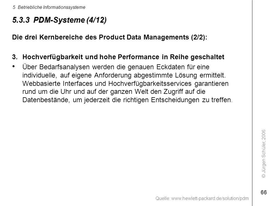 5.3.3 PDM-Systeme (4/12) Die drei Kernbereiche des Product Data Managements (2/2): 3. Hochverfügbarkeit und hohe Performance in Reihe geschaltet.