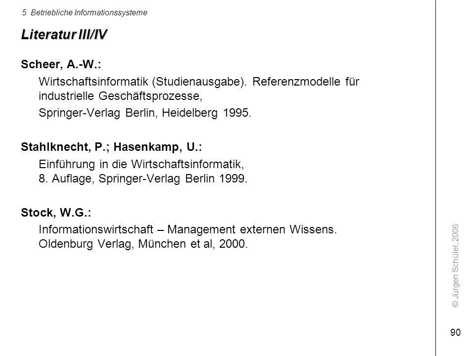 Literatur III/IV Scheer, A.-W.: