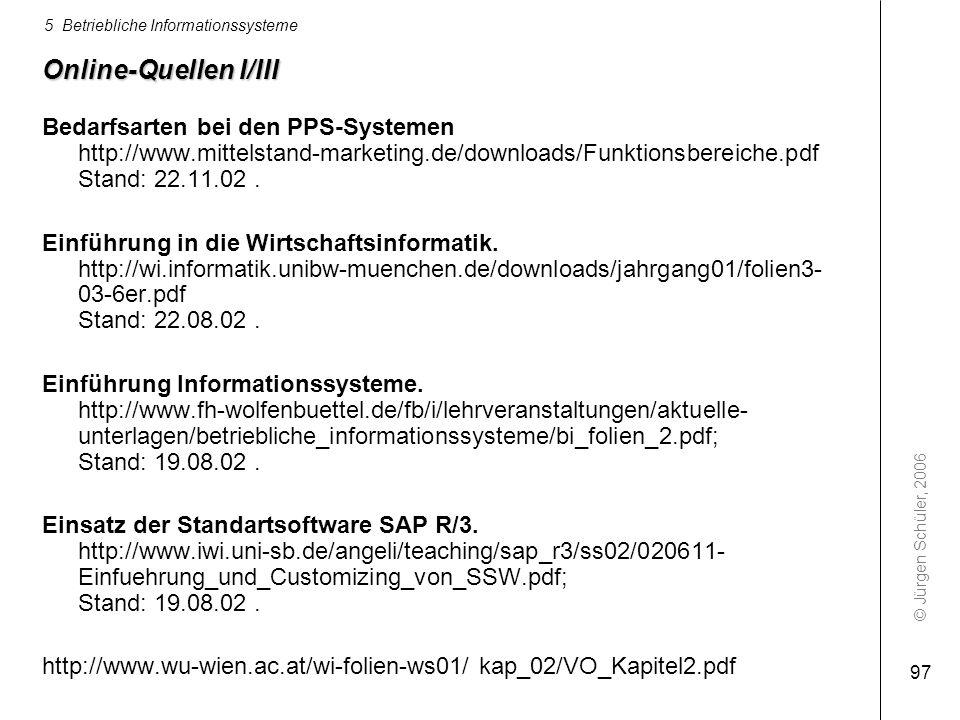 Online-Quellen I/III Bedarfsarten bei den PPS-Systemen http://www.mittelstand-marketing.de/downloads/Funktionsbereiche.pdf Stand: 22.11.02 .