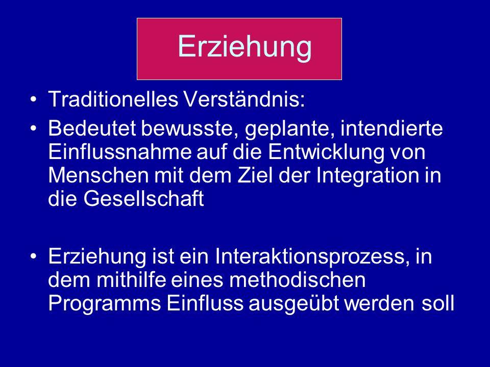 Erziehung Traditionelles Verständnis: