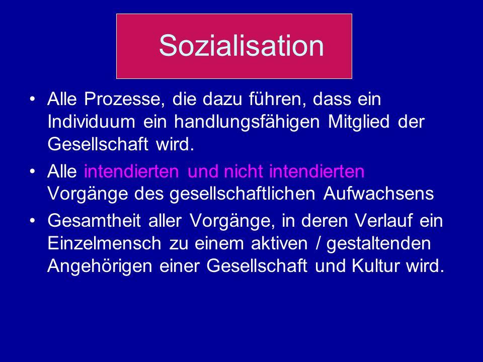 Sozialisation Alle Prozesse, die dazu führen, dass ein Individuum ein handlungsfähigen Mitglied der Gesellschaft wird.