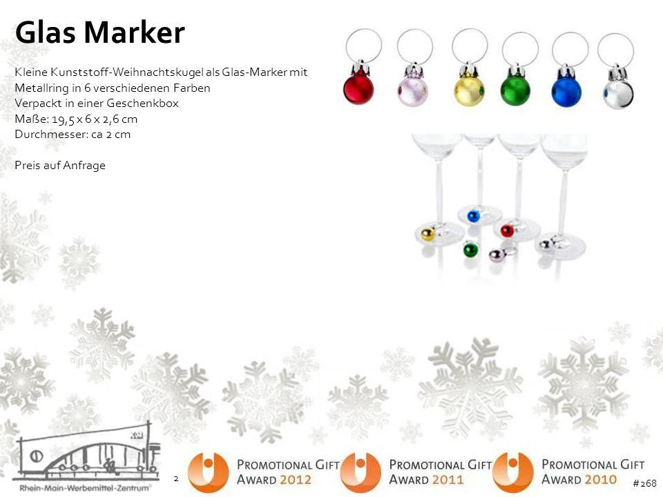 Glas Marker Kleine Kunststoff-Weihnachtskugel als Glas-Marker mit Metallring in 6 verschiedenen Farben.