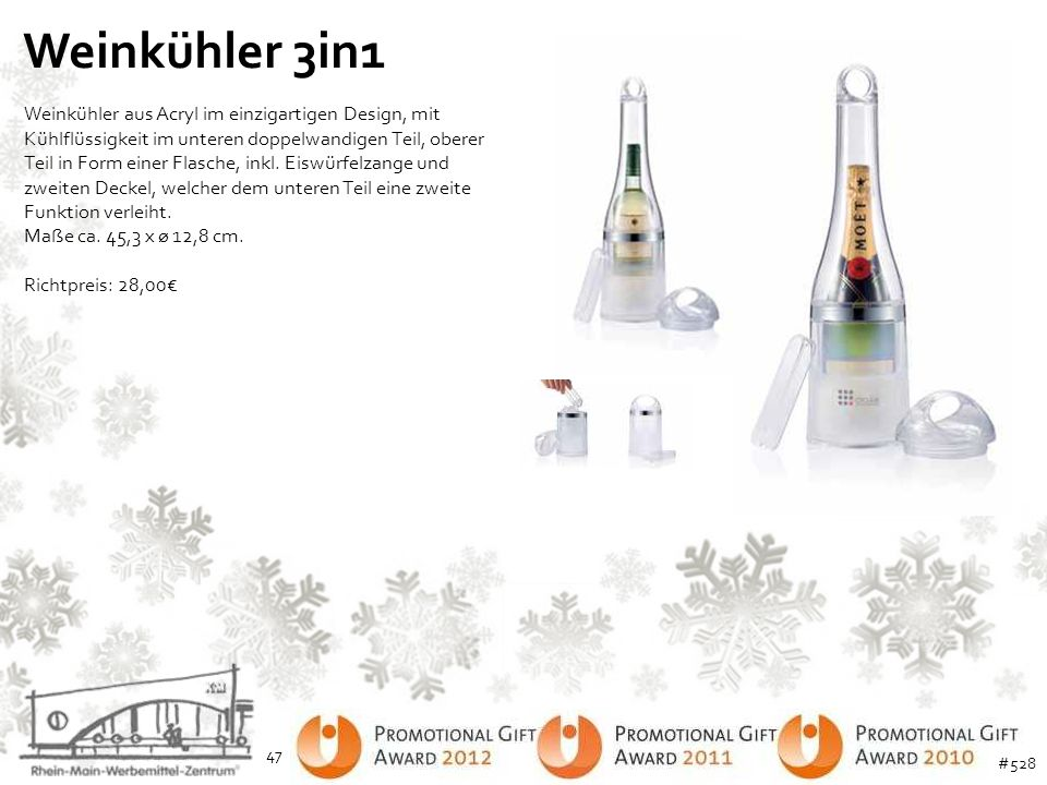 Weinkühler 3in1 Weinkühler aus Acryl im einzigartigen Design, mit