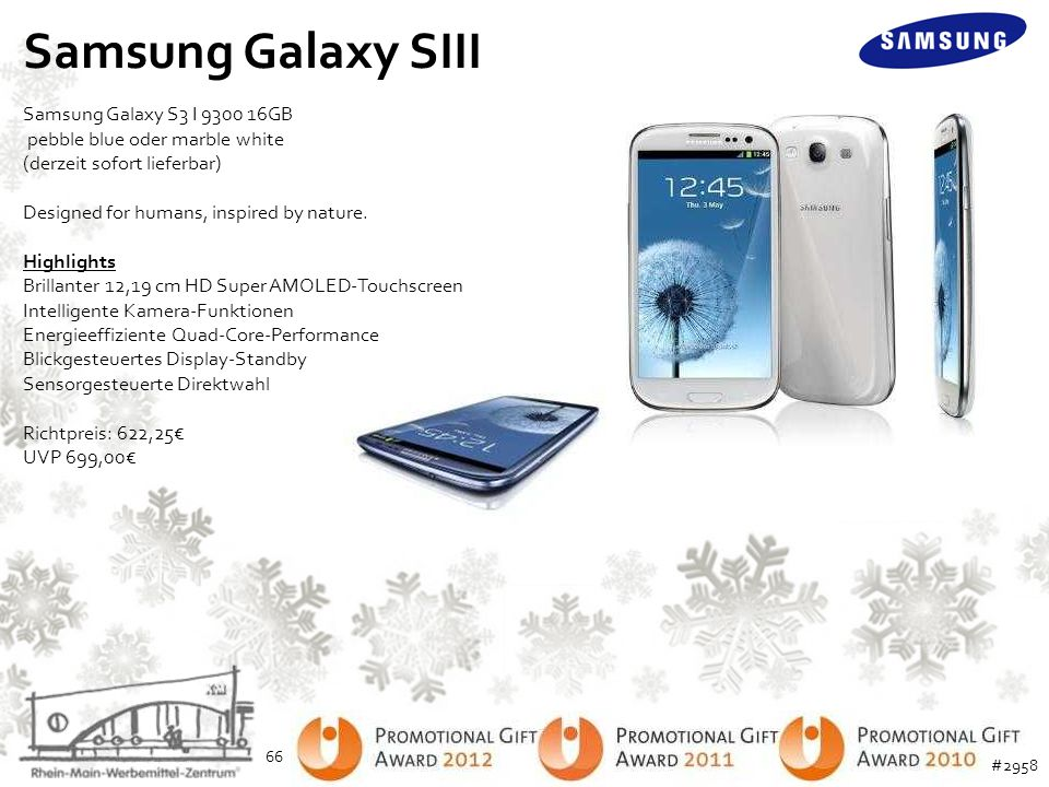 Samsung Galaxy SIII Samsung Galaxy S3 I 9300 16GB pebble blue oder marble white. (derzeit sofort lieferbar)