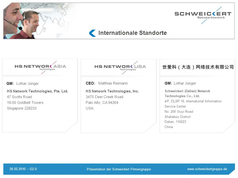 Internationale Standorte