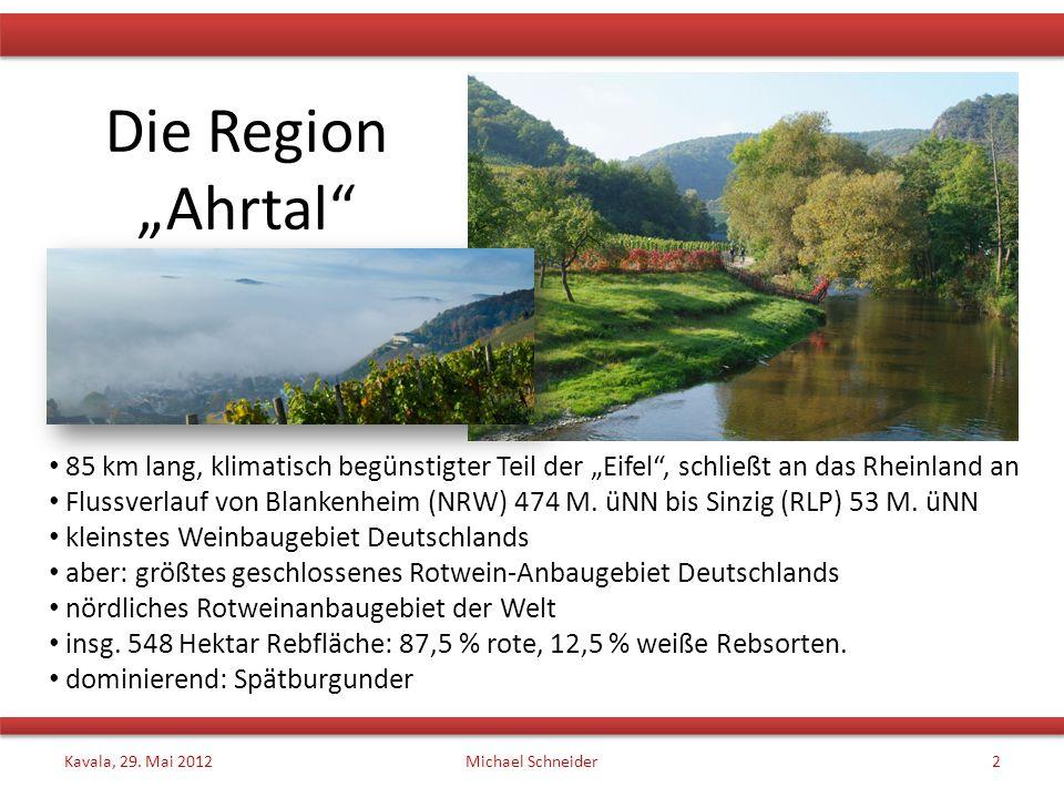 """Die Region """"Ahrtal 85 km lang, klimatisch begünstigter Teil der """"Eifel , schließt an das Rheinland an."""