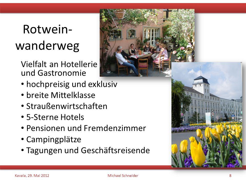 Rotwein- wanderweg Vielfalt an Hotellerie und Gastronomie