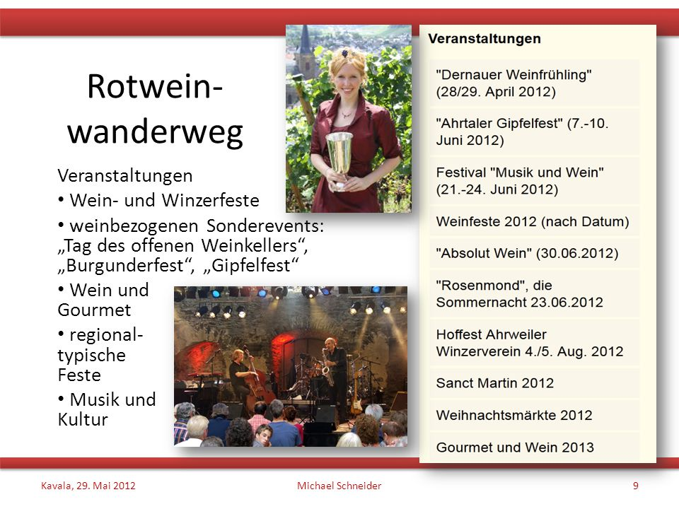 Rotwein- wanderweg Veranstaltungen Wein- und Winzerfeste
