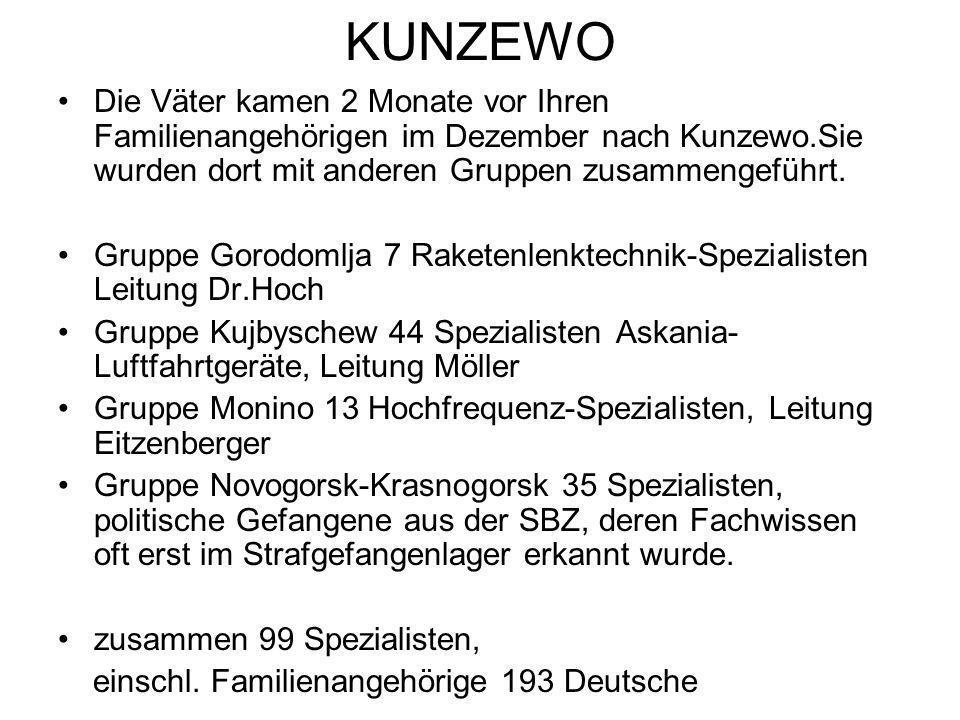 KUNZEWO Die Väter kamen 2 Monate vor Ihren Familienangehörigen im Dezember nach Kunzewo.Sie wurden dort mit anderen Gruppen zusammengeführt.