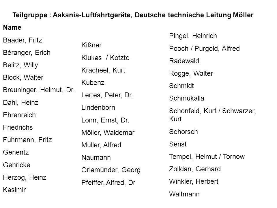 Teilgruppe : Askania-Luftfahrtgeräte, Deutsche technische Leitung Möller
