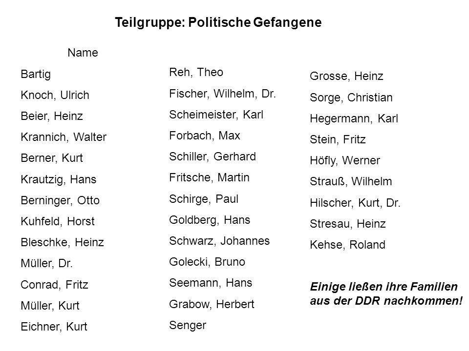 Teilgruppe: Politische Gefangene