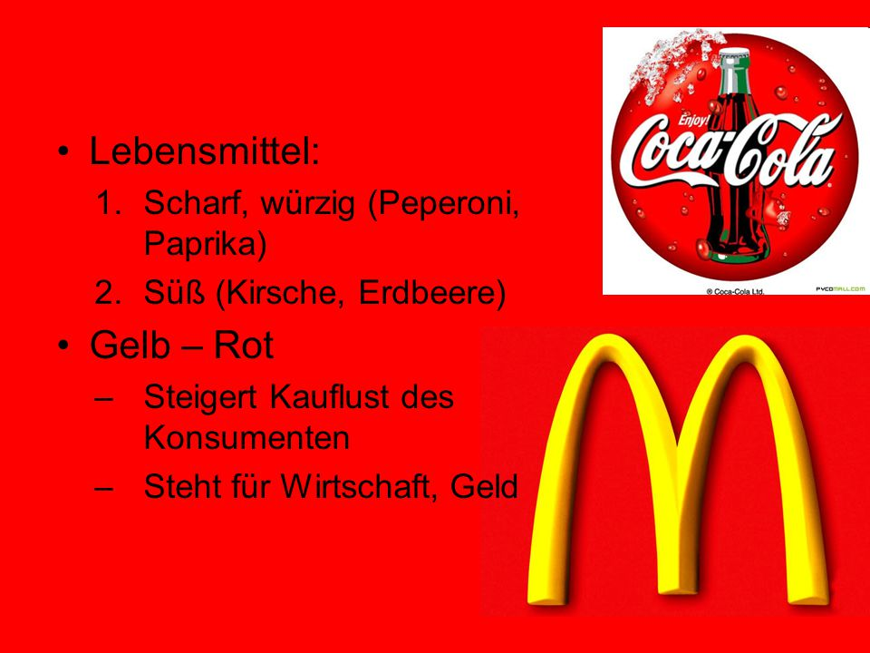 Lebensmittel: Gelb – Rot Scharf, würzig (Peperoni, Paprika)